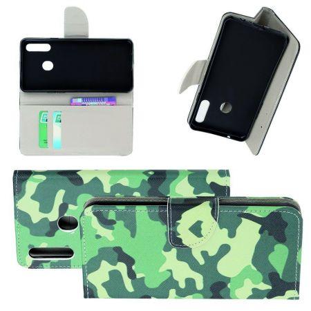 Защитный Флип Чехол для Samsung Galaxy A20s в Виде Книжки с Рисунком Камуфляж