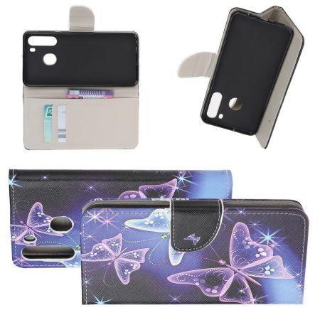 Защитный Флип Чехол для Samsung Galaxy A21 в Виде Книжки с Рисунком Бабочки
