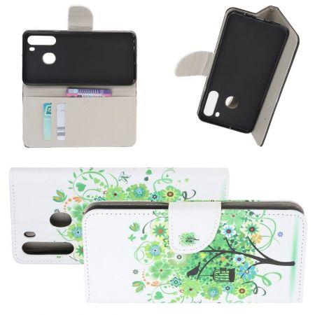 Защитный Флип Чехол для Samsung Galaxy A21 в Виде Книжки с Рисунком Зеленое Дерево