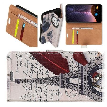 Защитный Флип Чехол для Samsung Galaxy A7 2018 SM-A750 в Виде Книжки с Рисунком Париж