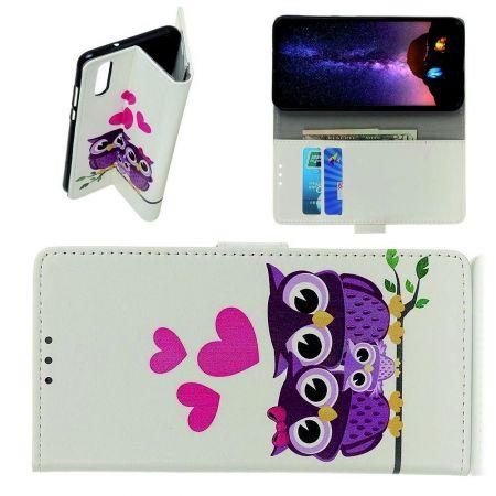 Защитный Флип Чехол для Samsung Galaxy A70s в Виде Книжки с Рисунком Совы И Сердца