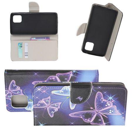Защитный Флип Чехол для Samsung Galaxy Note 10 Lite в Виде Книжки с Рисунком Фиолетовые Бабочки