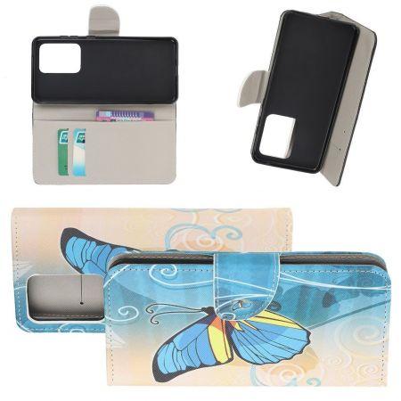 Защитный Флип Чехол для Samsung Galaxy S20 Ultra в Виде Книжки с Рисунком Голубая Бабочка