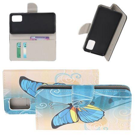 Защитный Флип Чехол для Samsung Galaxy S20 в Виде Книжки с Рисунком Голубая Бабочка