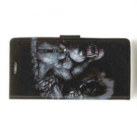 Защитный Флип Чехол для Sony Xperia XZ3 в Виде Книжки с Рисунком Волк