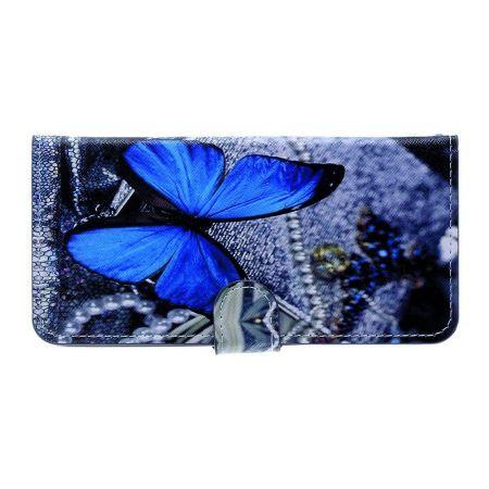 Защитный Флип Чехол для Xiaomi Redmi Note 8 Pro в Виде Книжки с Рисунком Голубая Бабочка
