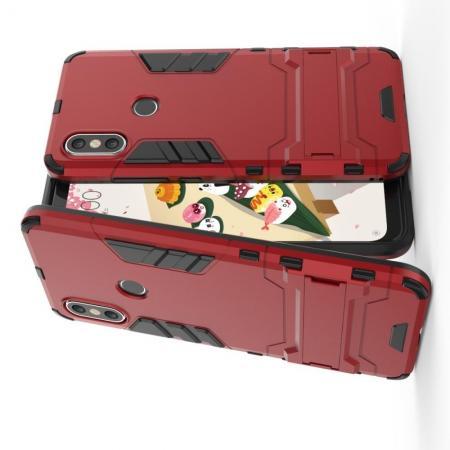 Защитный усиленный гибридный чехол противоударный с подставкой для Чехлы для Xiaomi Mi A2 / Mi 6X Красный