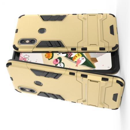 Защитный усиленный гибридный чехол противоударный с подставкой для Чехлы для Xiaomi Mi A2 / Mi 6X Золотой