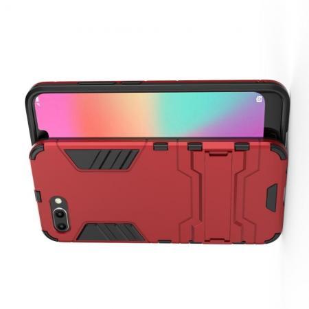 Защитный усиленный гибридный чехол противоударный с подставкой для Huawei Honor 10 Красный