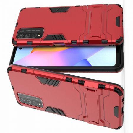 Защитный усиленный гибридный чехол противоударный с подставкой для Huawei Honor 10X Lite Красный
