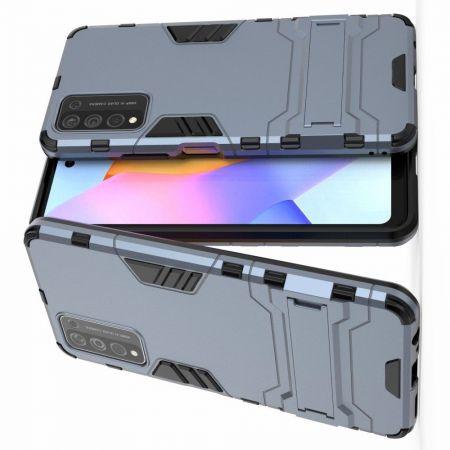 Защитный усиленный гибридный чехол противоударный с подставкой для Huawei Honor 10X Lite Синий