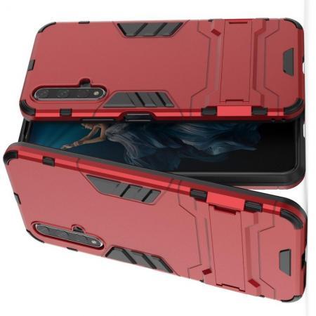 Защитный усиленный гибридный чехол противоударный с подставкой для Huawei Honor 20 Красный