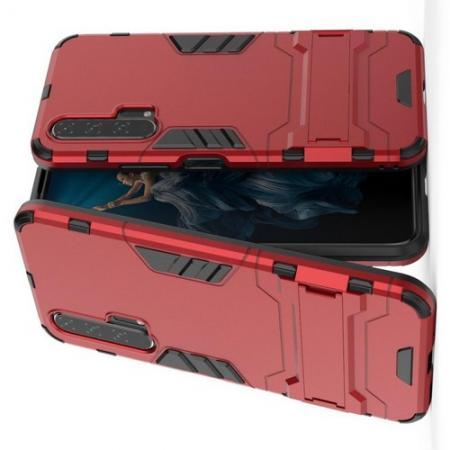 Защитный усиленный гибридный чехол противоударный с подставкой для Huawei Honor 20 Pro Красный