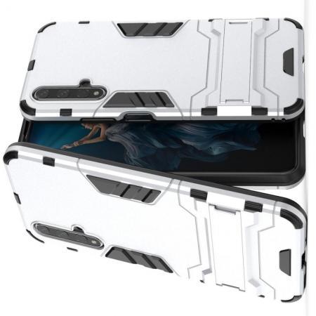 Защитный усиленный гибридный чехол противоударный с подставкой для Huawei Honor 20 Серебряный