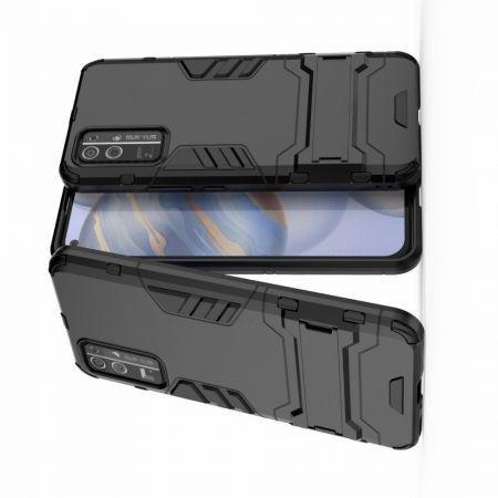 Защитный усиленный гибридный чехол противоударный с подставкой для Huawei Honor 30 Черный