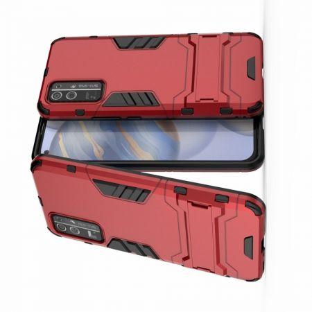 Защитный усиленный гибридный чехол противоударный с подставкой для Huawei Honor 30 Красный