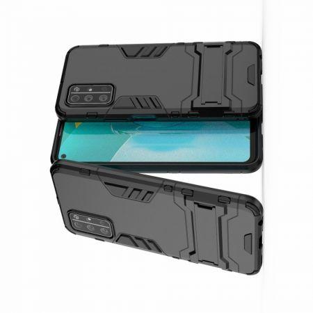 Защитный усиленный гибридный чехол противоударный с подставкой для Huawei Honor 30S Черный