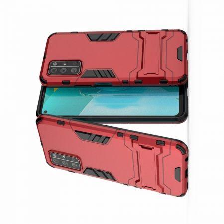 Защитный усиленный гибридный чехол противоударный с подставкой для Huawei Honor 30S Красный