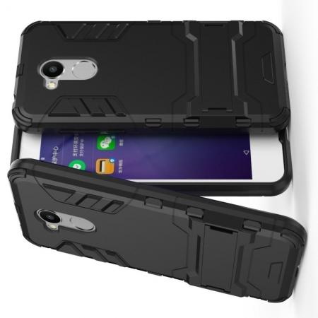 Защитный усиленный гибридный чехол противоударный с подставкой для Huawei Honor 6A Черный