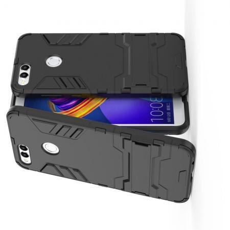 Защитный усиленный гибридный чехол противоударный с подставкой для Huawei Honor 7X Черный