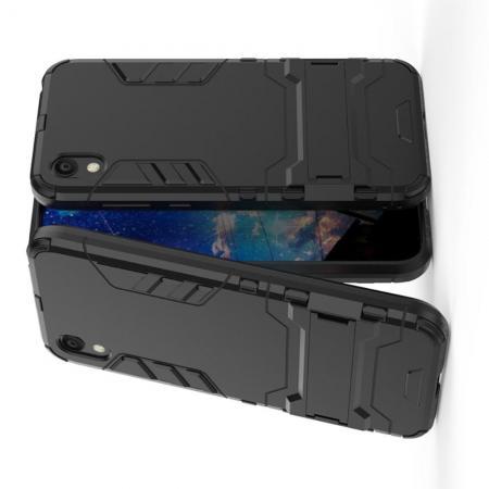 Защитный усиленный гибридный чехол противоударный с подставкой для Huawei Honor 8S / Y5 2019 Черный