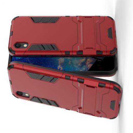 Защитный усиленный гибридный чехол противоударный с подставкой для Huawei Honor 8S / Y5 2019 Красный