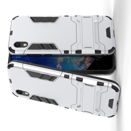 Защитный усиленный гибридный чехол противоударный с подставкой для Huawei Honor 8S / Y5 2019 Серебряный