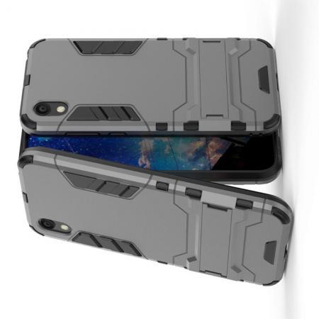 Защитный усиленный гибридный чехол противоударный с подставкой для Huawei Honor 8S / Y5 2019 Серый