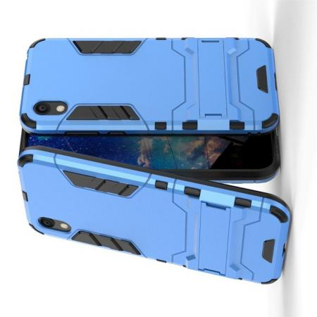 Защитный усиленный гибридный чехол противоударный с подставкой для Huawei Honor 8S / Y5 2019 Синий
