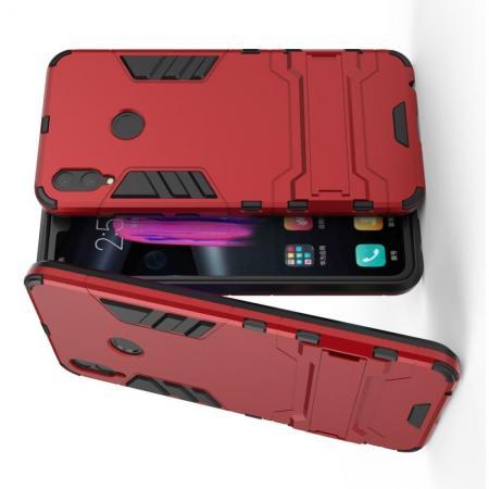 Защитный усиленный гибридный чехол противоударный с подставкой для Huawei Honor 8X Красный
