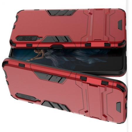 Защитный усиленный гибридный чехол противоударный с подставкой для Huawei Honor 9X Pro Красный