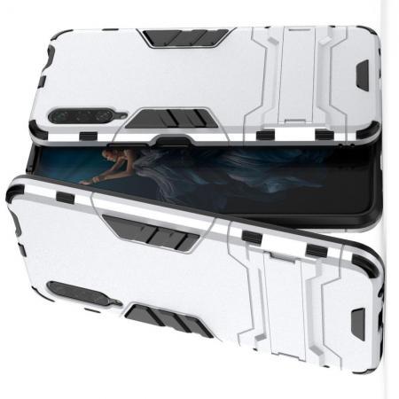 Защитный усиленный гибридный чехол противоударный с подставкой для Huawei Honor 9X Pro Серебряный