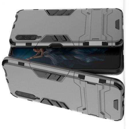 Защитный усиленный гибридный чехол противоударный с подставкой для Huawei Honor 9X Pro Серый