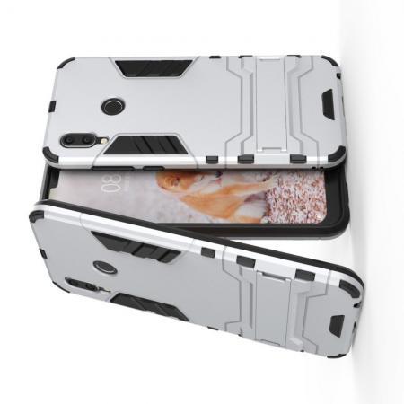 Защитный усиленный гибридный чехол противоударный с подставкой для Huawei Honor Play Серебряный