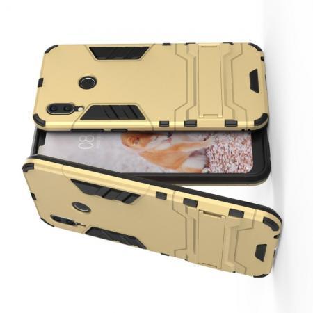 Защитный усиленный гибридный чехол противоударный с подставкой для Huawei Honor Play Золотой