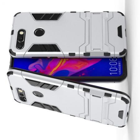 Защитный усиленный гибридный чехол противоударный с подставкой для Huawei Honor View 20 (V20) Серебряный