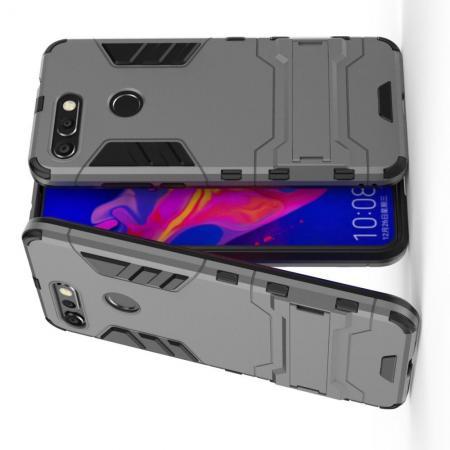 Защитный усиленный гибридный чехол противоударный с подставкой для Huawei Honor View 20 (V20) Серый