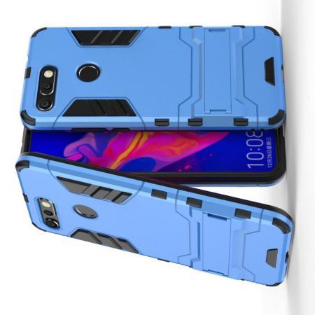 Защитный усиленный гибридный чехол противоударный с подставкой для Huawei Honor View 20 (V20) Синий