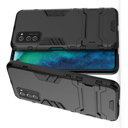 Защитный усиленный гибридный чехол противоударный с подставкой для Huawei Honor View 30 / View 30 Pro Черный