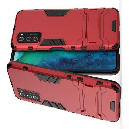Защитный усиленный гибридный чехол противоударный с подставкой для Huawei Honor View 30 / View 30 Pro Красный
