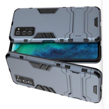 Защитный усиленный гибридный чехол противоударный с подставкой для Huawei Honor View 30 / View 30 Pro Синий