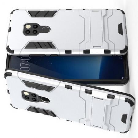 Защитный усиленный гибридный чехол противоударный с подставкой для Huawei Mate 20 Серебряный