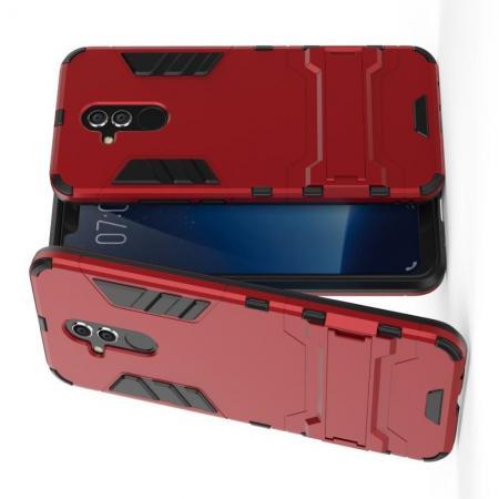 Защитный усиленный гибридный чехол противоударный с подставкой для Huawei Mate 20 Lite Красный