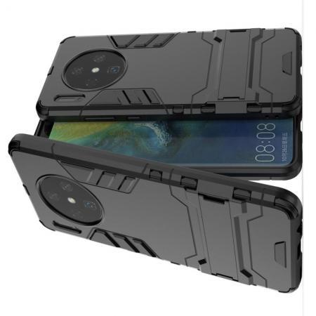 Защитный усиленный гибридный чехол противоударный с подставкой для Huawei Mate 30 Черный