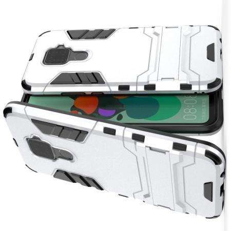 Защитный усиленный гибридный чехол противоударный с подставкой для Huawei Mate 30 Lite Белый