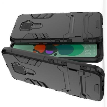 Защитный усиленный гибридный чехол противоударный с подставкой для Huawei Mate 30 Lite Черный