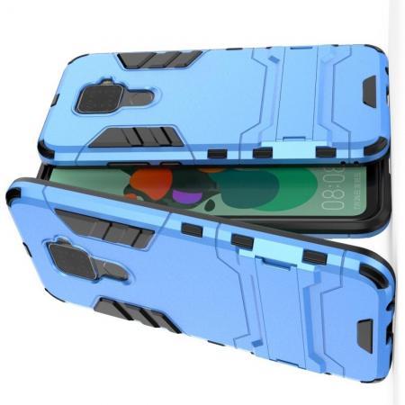 Защитный усиленный гибридный чехол противоударный с подставкой для Huawei Mate 30 Lite Голубой