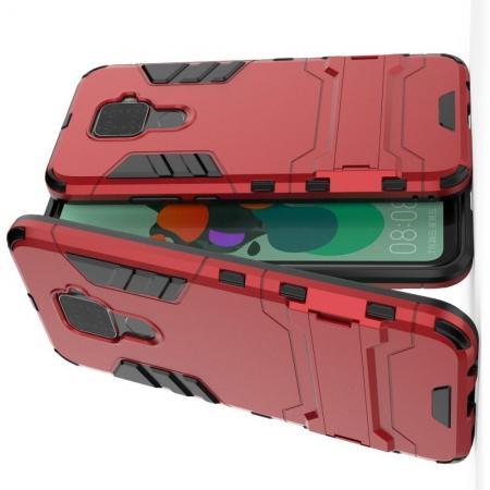 Защитный усиленный гибридный чехол противоударный с подставкой для Huawei Mate 30 Lite Красный