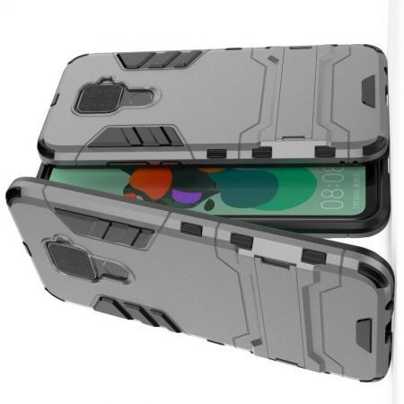 Защитный усиленный гибридный чехол противоударный с подставкой для Huawei Mate 30 Lite Серый