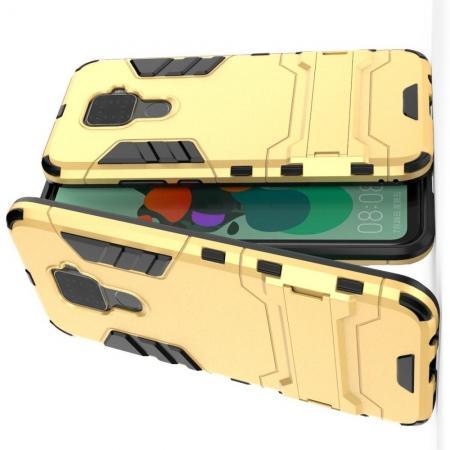 Защитный усиленный гибридный чехол противоударный с подставкой для Huawei Mate 30 Lite Желтый